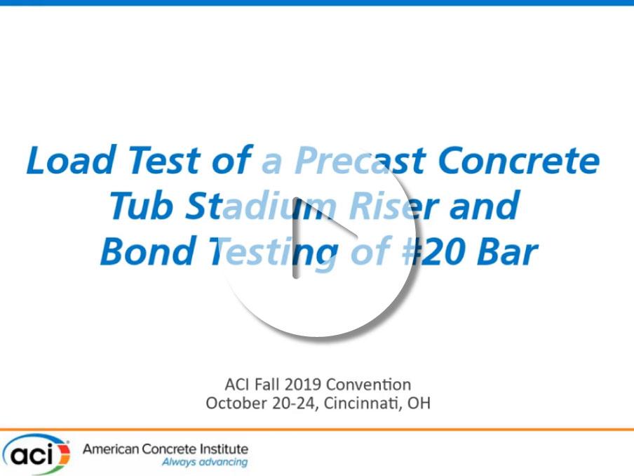 """""""Test de carga para una gradería de estadio de hormigón prefabricado y test de adherencia para una barra de refuerzo #20"""""""